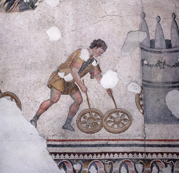 Мальчик, играющий с обручами. Изображение на мозаике VI века Большого Константинопольского дворца.